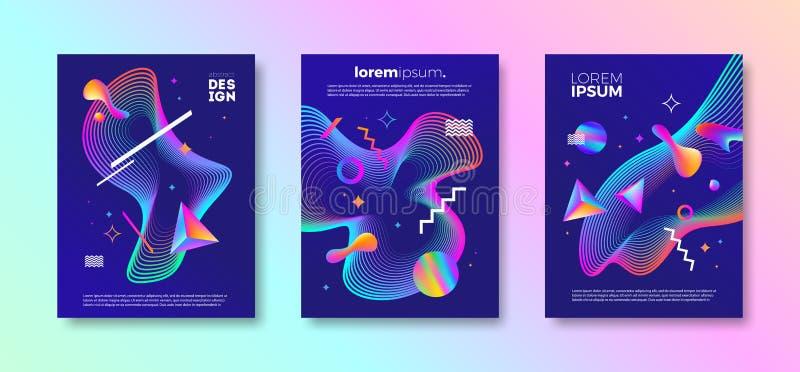 Satz Abdeckungsdesign mit abstrakten mehrfarbigen verschiedenen Formen Vektorillustrationsschablone stock abbildung