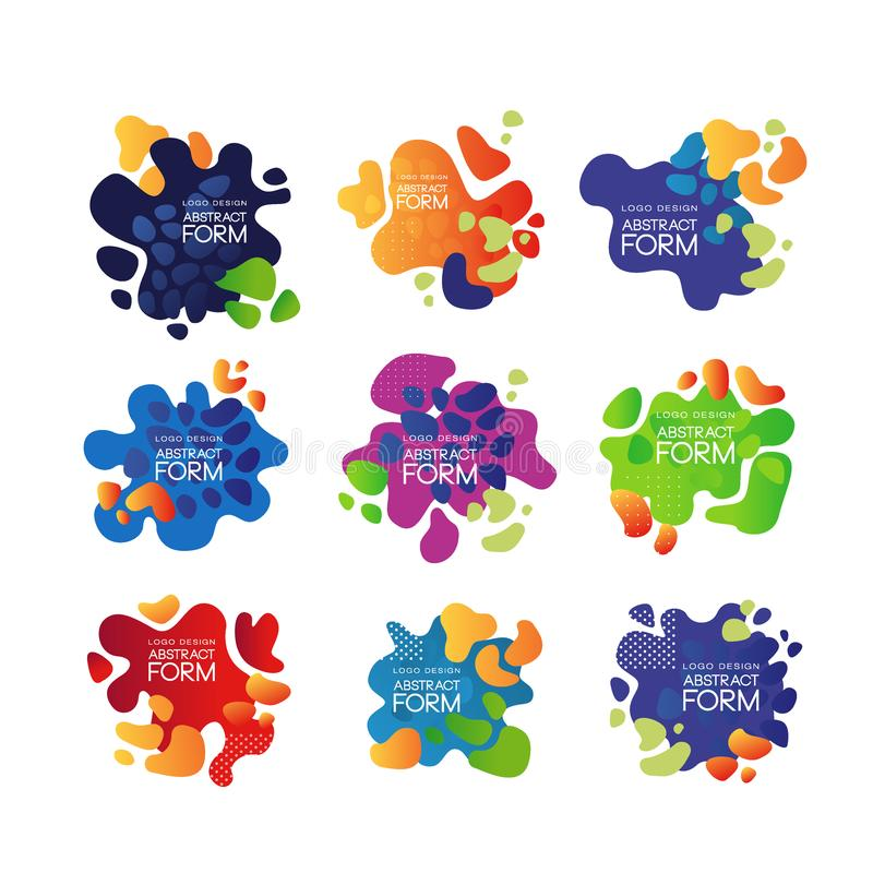 Satz abstrakte Blasen mit Platz für Mitteilung Vector Schablonen für Visitenkarte, die Darstellung und annoncieren Plakat oder stock abbildung