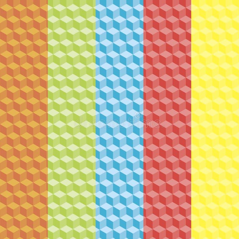 Satz abstrakte bunte Kubikmuster stockbilder