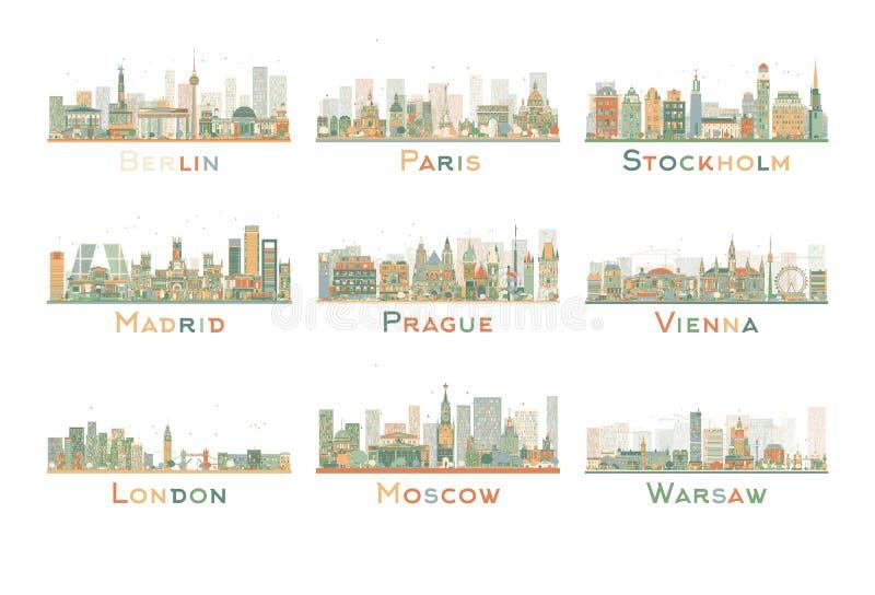 Satz 9 abstrakte Europa Stadt-Skyline Auch im corel abgehobenen Betrag vektor abbildung