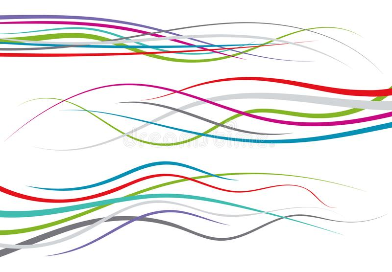 Satz abstrakte Farbgekrümmte linien stock abbildung
