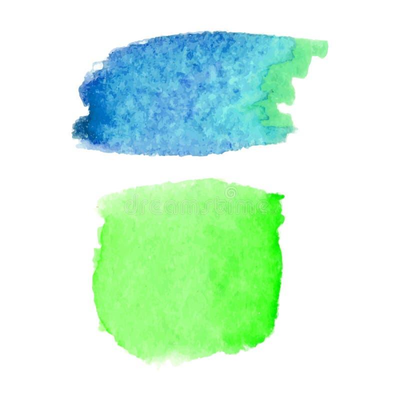 Satz abstrakte Flecke Blaue und grüne Farben Heller kreativer Hintergrund Aquarellbeschaffenheit mit Bürstenanschlägen Stellen lo vektor abbildung
