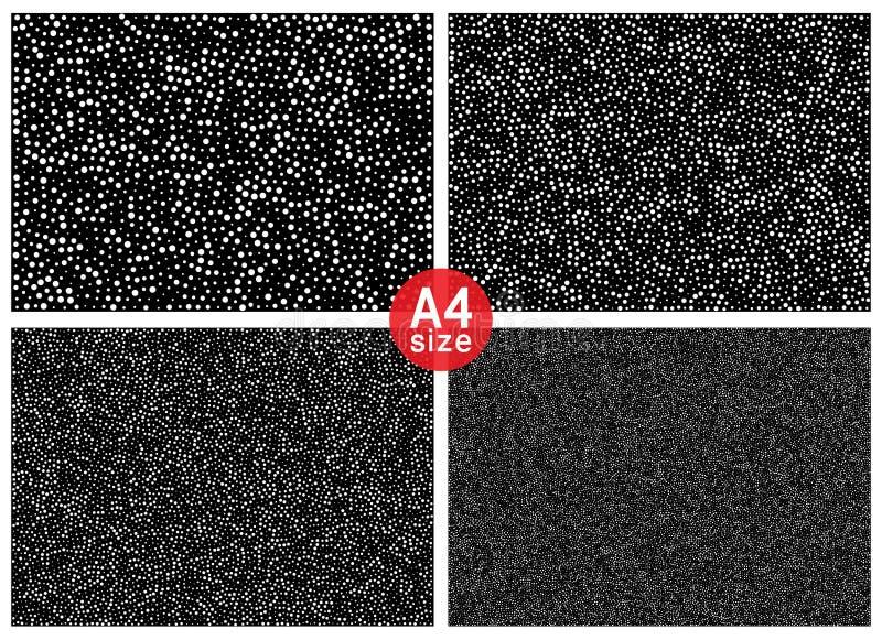 Satz abstrakte gelegentliche Halbtonpunkte vector horizontale Musterbeschaffenheitshintergründe A4 Papierformat, Vektorillustrati vektor abbildung