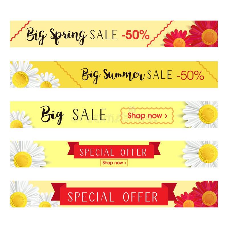 Satz abstrakte Netzfahnenschablonen mit Blumenhintergrund Fahnen des großen Verkaufs und des Sonderangebots Lange Größenfahnen stock abbildung