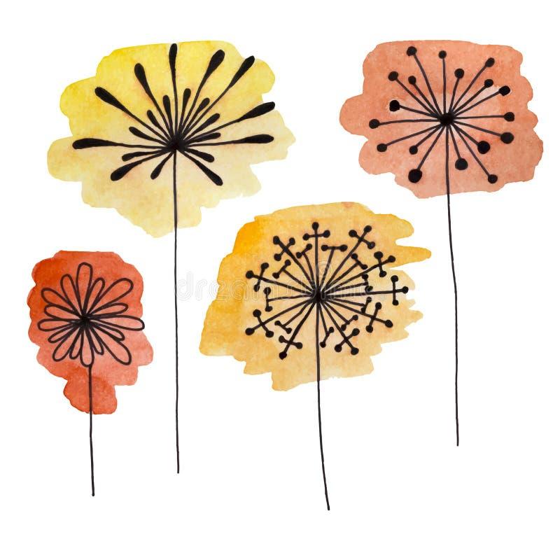 Satz abstrakte schwarze Handgezeichnete Blumen auf Aquarell befleckt in der Gekritzelart Vektorabbildung EPS10 lizenzfreie abbildung
