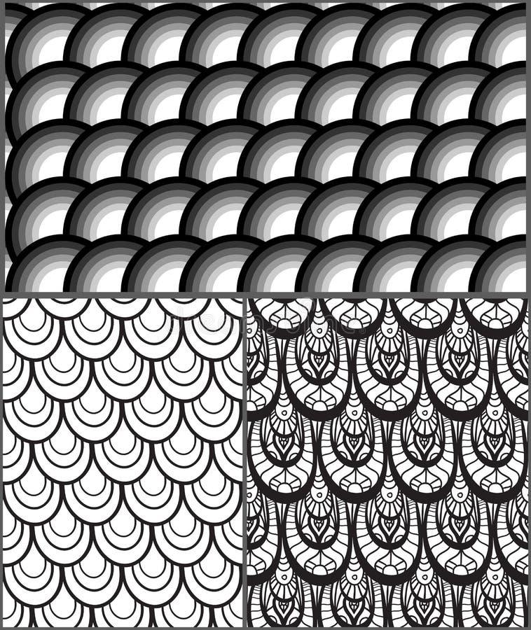 Satz abstrakte Schwarzweiss-Muster mit Skalen lizenzfreie abbildung
