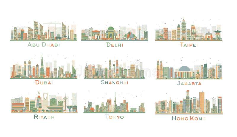 Satz abstrakte Skyline der Stadt-9 Auch im corel abgehobenen Betrag stock abbildung