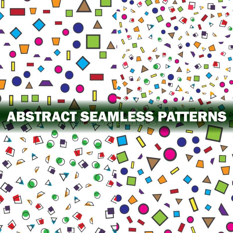 Satz abstrakten nahtlosen Musters vier Einfache Art stock abbildung