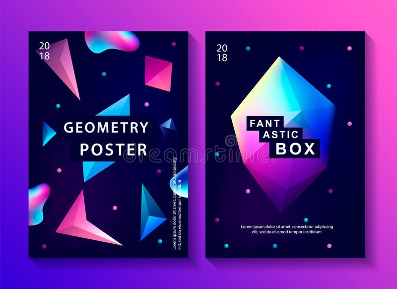 Satz abstrakter modischer kosmischer Poster stock abbildung