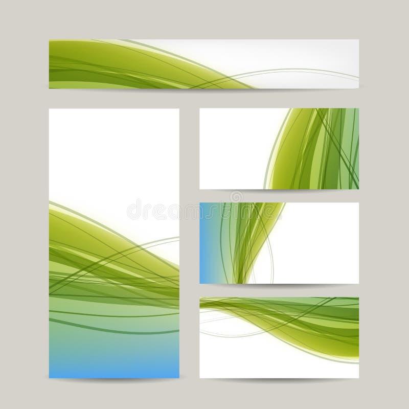 Satz abstraktes kreatives Visitenkartedesign vektor abbildung