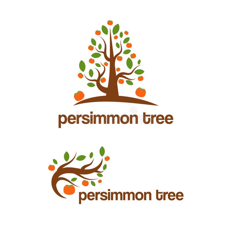 Satz abstraktes Schablonenlogodesign mit Persimonebaum lizenzfreie abbildung