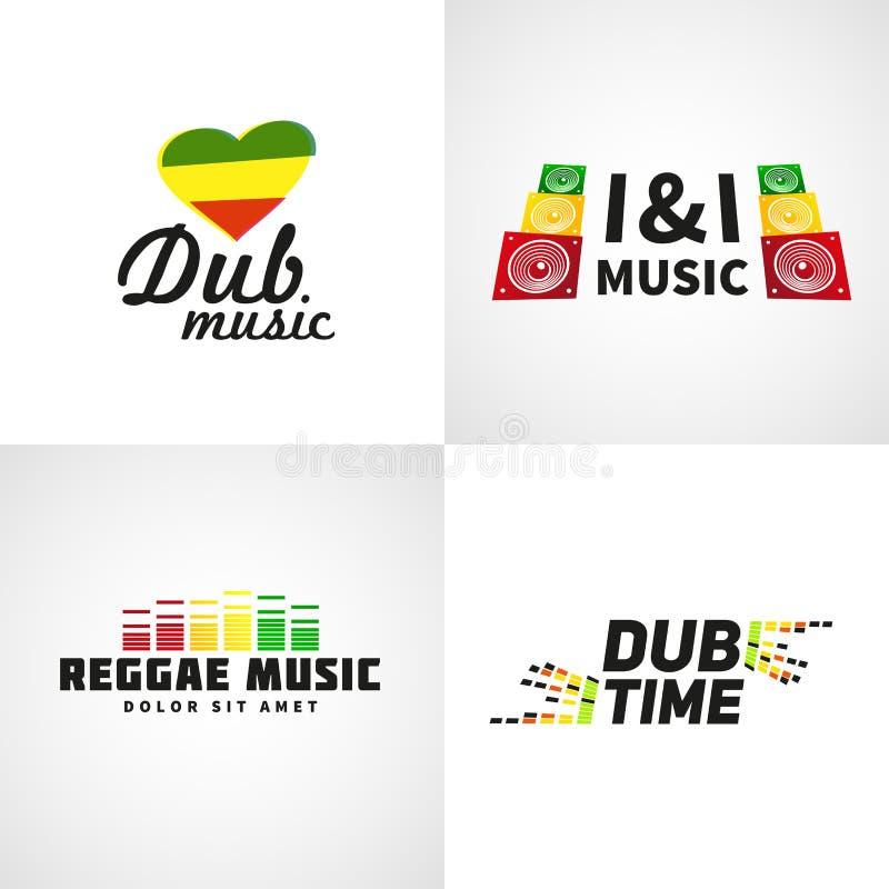 Satz Afrika-Flaggenlogodesign Jamaika-Musik stock abbildung