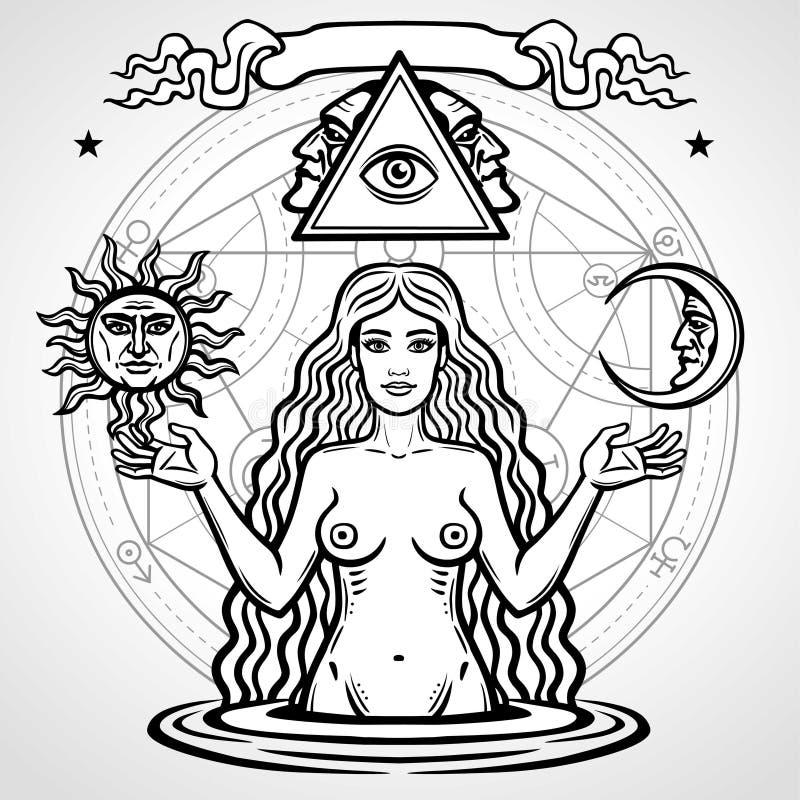 Satz alchemical Symbole: junge Schönheit hält Sonne und Mond in der Hand Eve-` s Bild, Ergiebigkeit, Versuchung stock abbildung