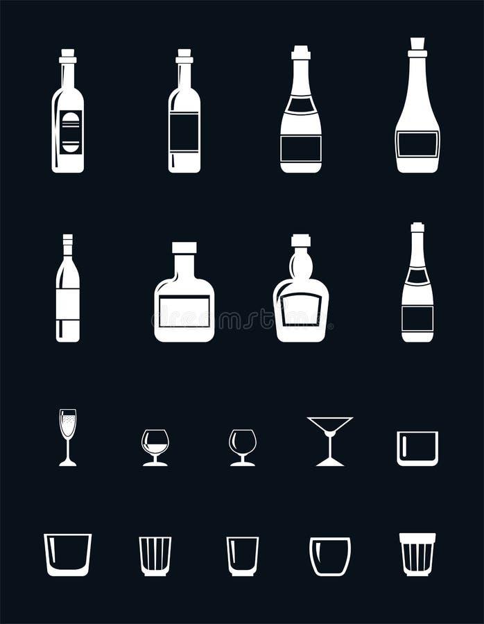 Satz Alkoholikonen in der flachen Artzeichnung mit weißen Linien lizenzfreie abbildung