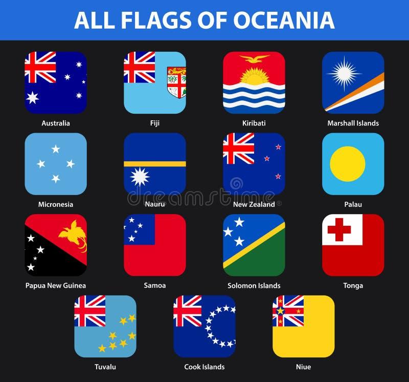 Satz aller Flaggen der Länder von Ozeanien Flache Art stock abbildung