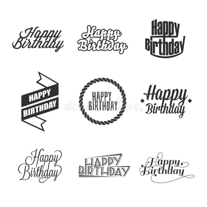 Satz alles Gute zum Geburtstag ` s Beschriftung lizenzfreie stockfotografie