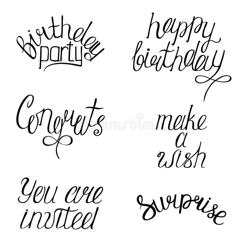 Satz alles Gute zum Geburtstag ` s Kalligraphiephrasen Handgeschriebenes modernes vektor abbildung