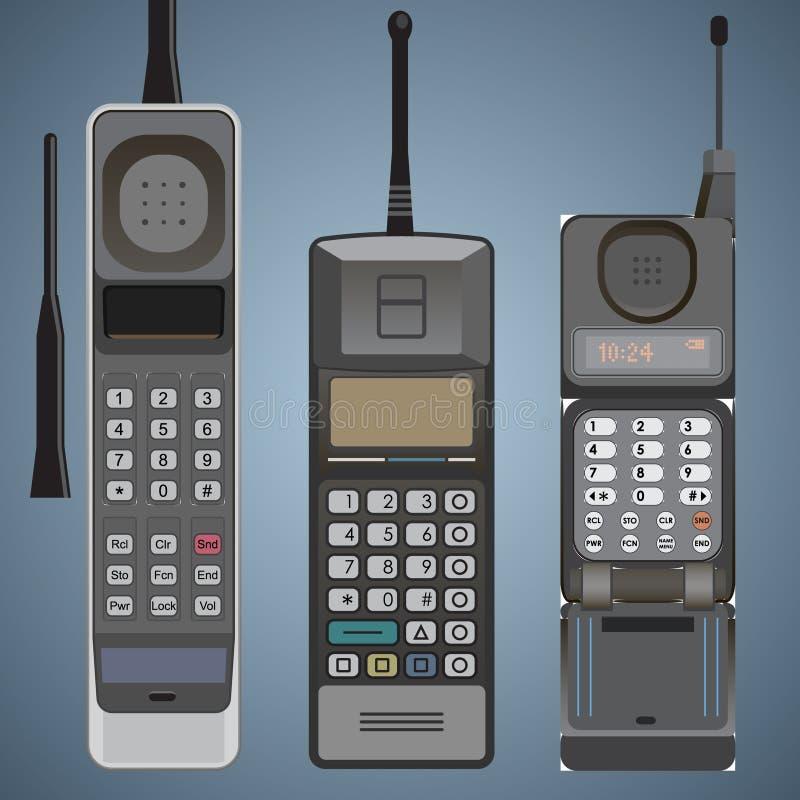 Satz alte Mobilhandys führte hoch Vorderansicht einzeln auf lizenzfreie abbildung