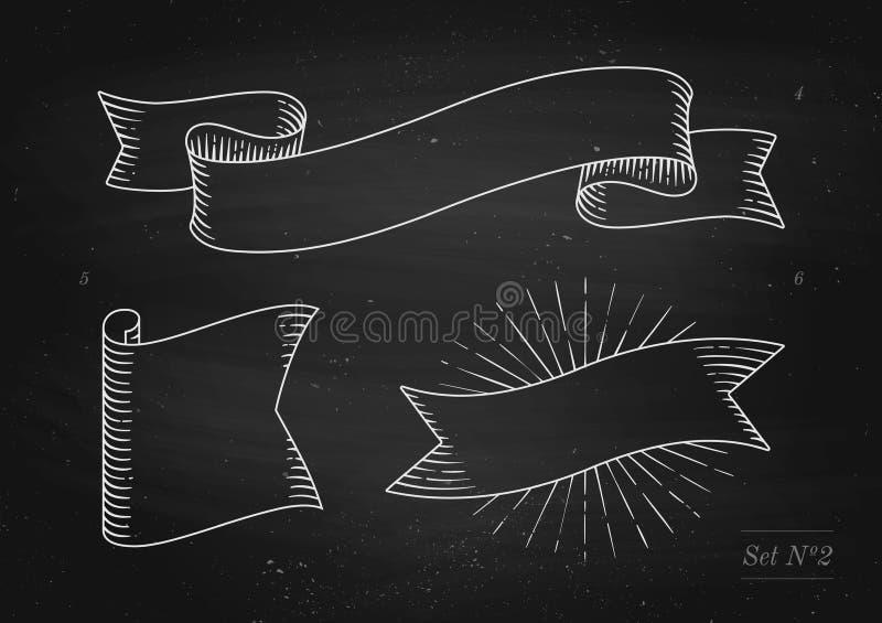 Satz alte Weinlesebandfahnen in der Stichart auf einem schwarzen Tafelhintergrund und -beschaffenheit Hand gezeichnetes Design lizenzfreie abbildung