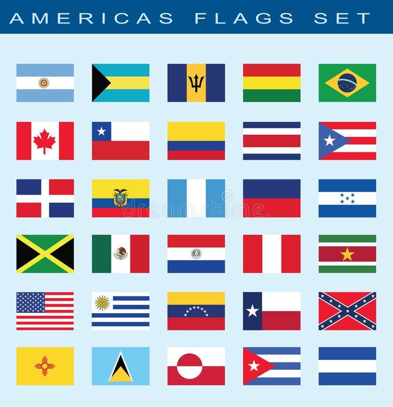 Satz Amerika-Flaggen, Vektorillustration lizenzfreie abbildung