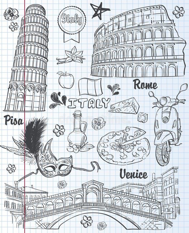 Satz Anblick in Italien, Architektur, Lebensmittel, Transport, Einzelteile Schwarze Kontur lizenzfreie abbildung