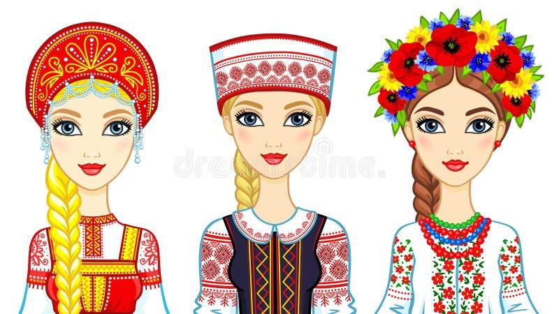 Satz Animationsporträts von slawischen Mädchen in den traditionellen Klagen Russland, Weißrussland, Ukraine lizenzfreie abbildung