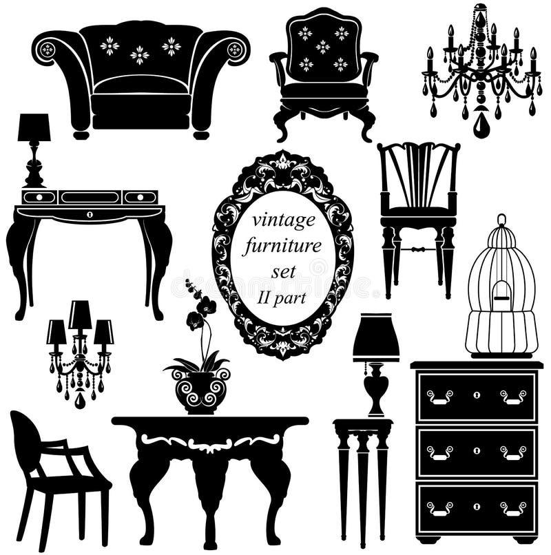Satz antike Möbel - lokalisierte schwarze Schattenbilder lizenzfreie abbildung