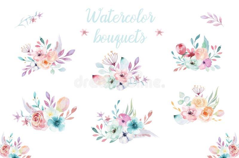 Satz Aquarell boho Blumensträuße Böhmischer natürlicher Rahmen des Watercolour: Blätter, Federn, Blumen, lokalisiert auf Weiß stock abbildung