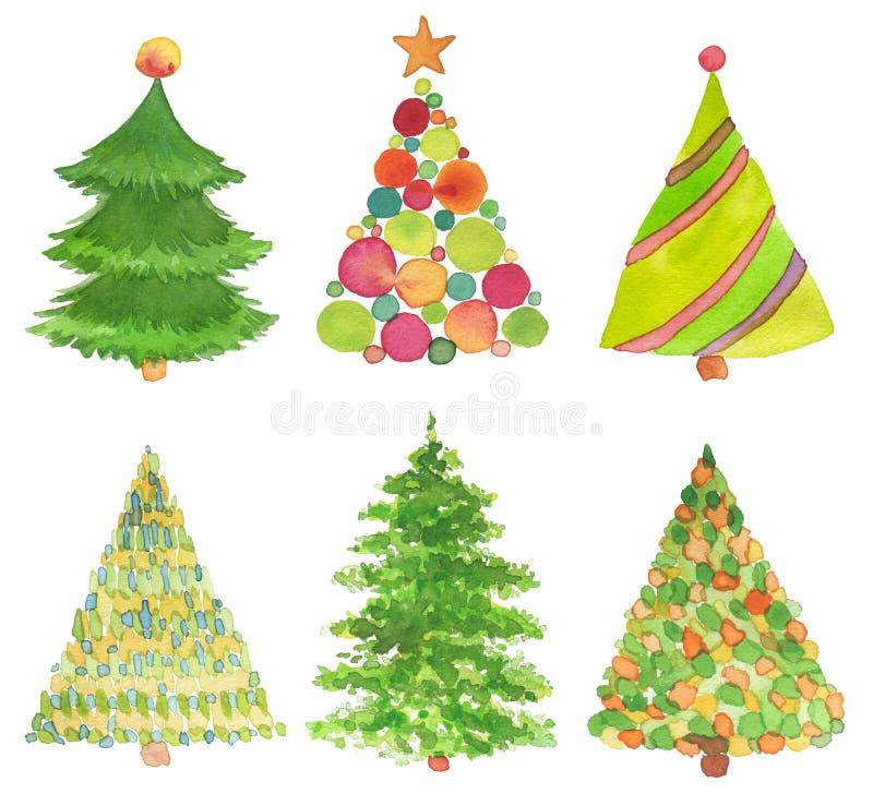 Satz Aquarell des handgemalten Weihnachtsbaums stockfoto