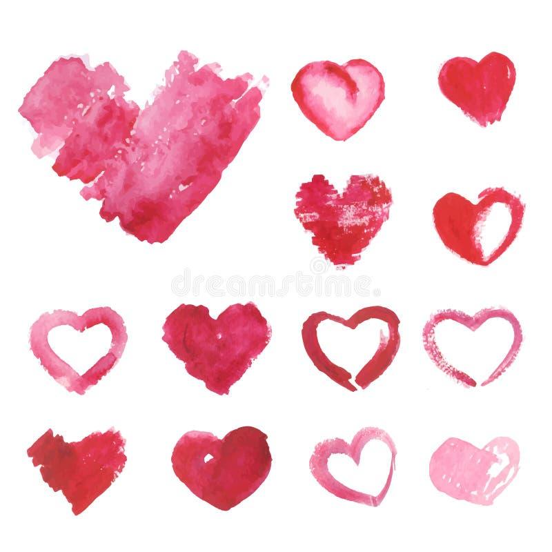 Satz Aquarell gemaltes rosa Herz stock abbildung