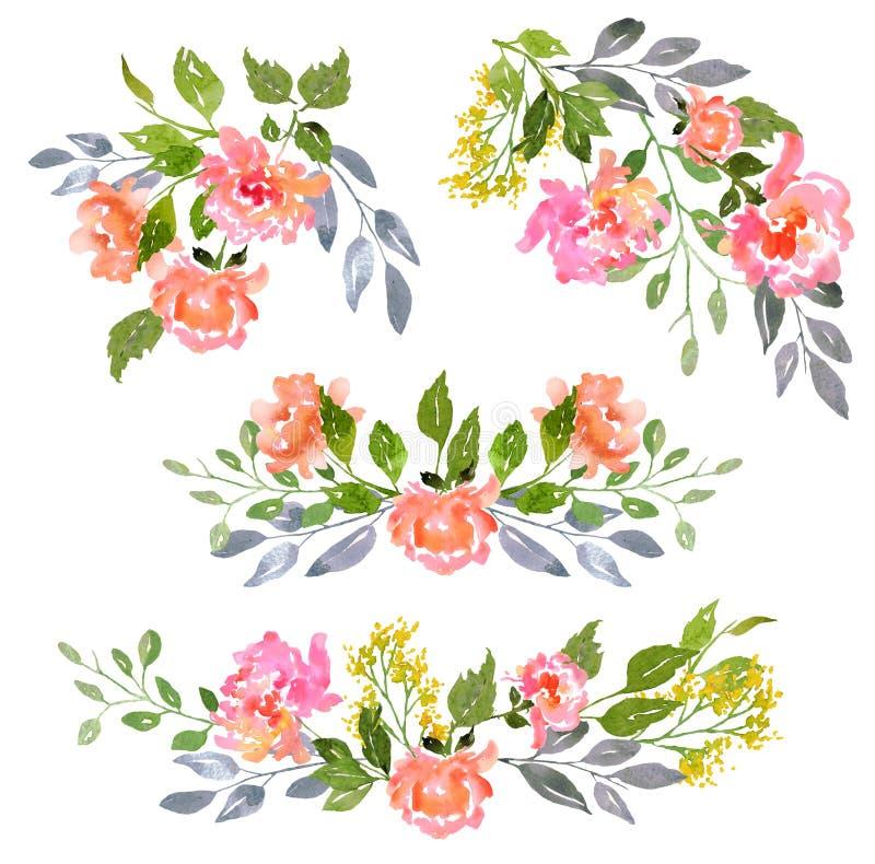 Satz Aquarellblumenzusammensetzung stockfotos