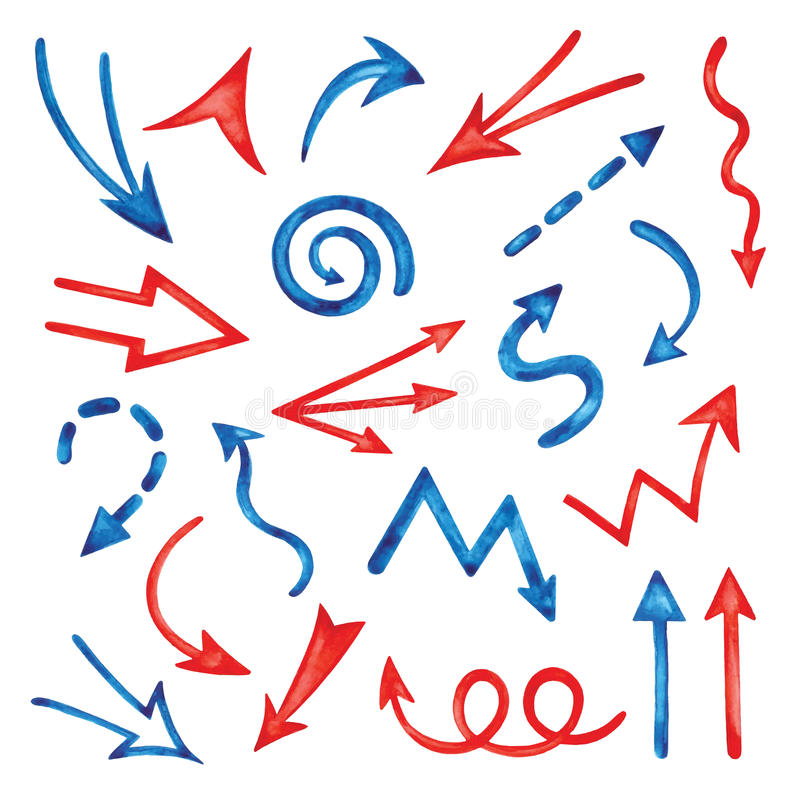 Satz Aquarellpfeile vektor abbildung