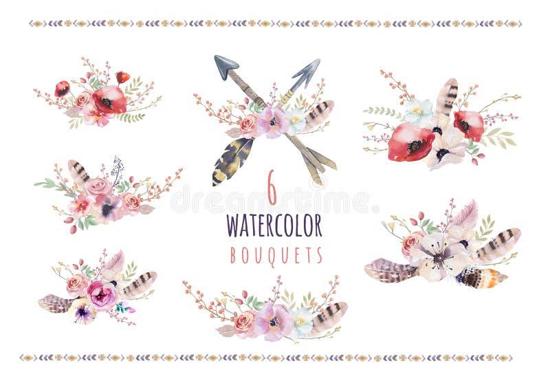 Satz Aquarellweinleseblumensträuße Boho-Frühling blüht und der Blattrahmen, der auf weißem Hintergrund lokalisiert wird: saftig lizenzfreie abbildung