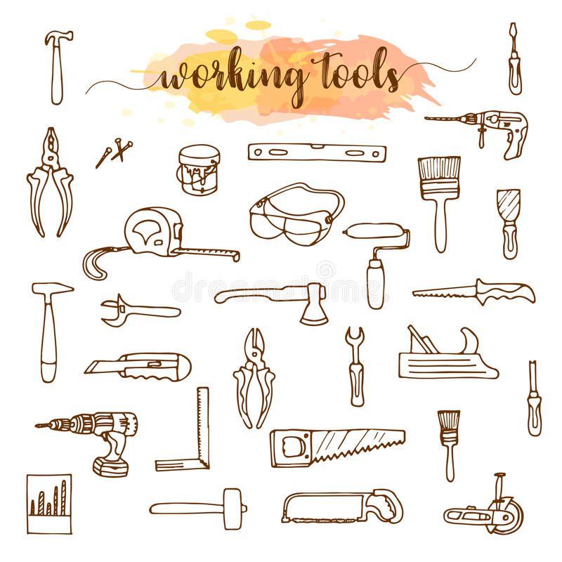 Satz Arbeitsgeräte, Gekritzelskizze stock abbildung