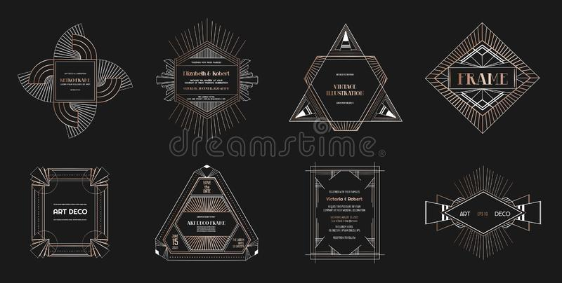 Satz Art- DecoGrenzen und Rahmen Geometrische Art der Schablone im Jahre 1920 s Gatsby für Ihre Hochzeitskarte, sparen das Datums vektor abbildung
