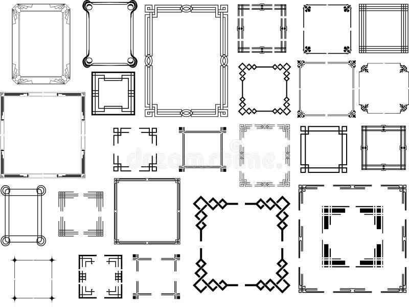 Satz Art- DecoRahmen lizenzfreie abbildung