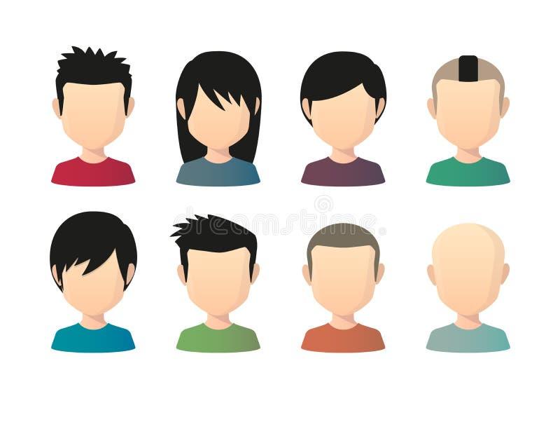 Satz asiatische männliche gesichtslose Avataras mit verschiedenen Frisuren stock abbildung