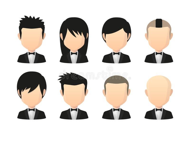 Satz asiatische männliche gesichtslose Avataras mit verschiedenen Frisuren tragen lizenzfreie abbildung