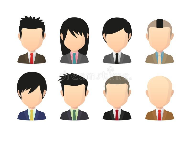 Satz asiatische männliche gesichtslose Avataras mit verschiedenen Frisuren tragen vektor abbildung