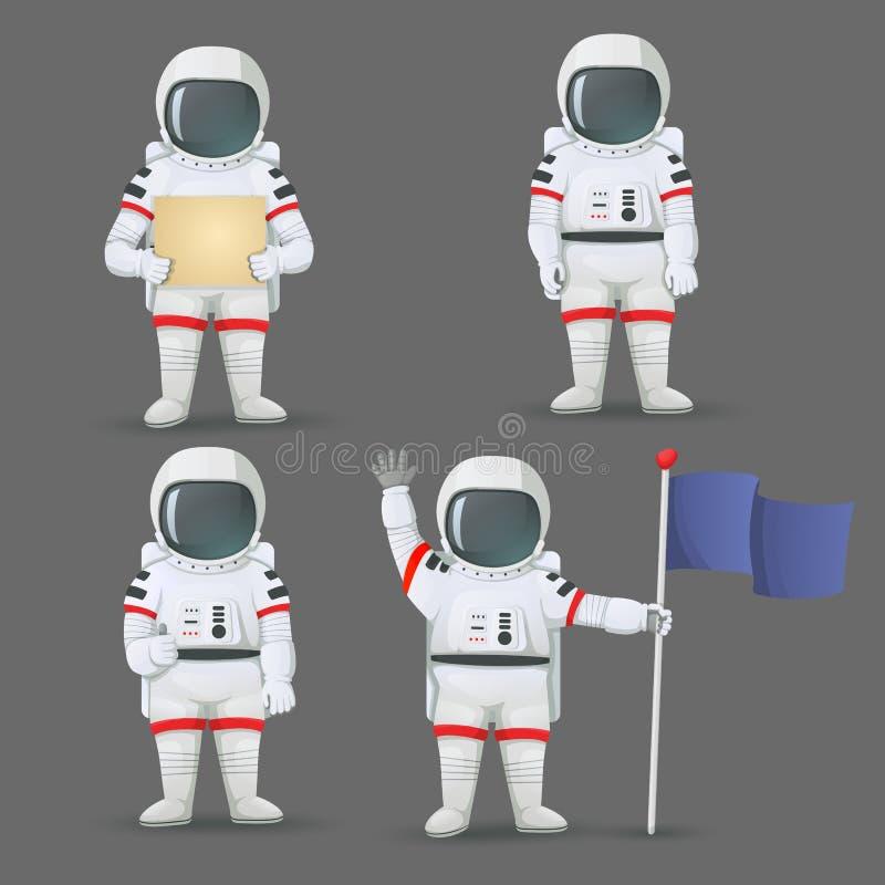 Satz Astronauten, die mit verschiedenen Gesten lokalisiert auf grauem Hintergrund stehen lizenzfreie abbildung