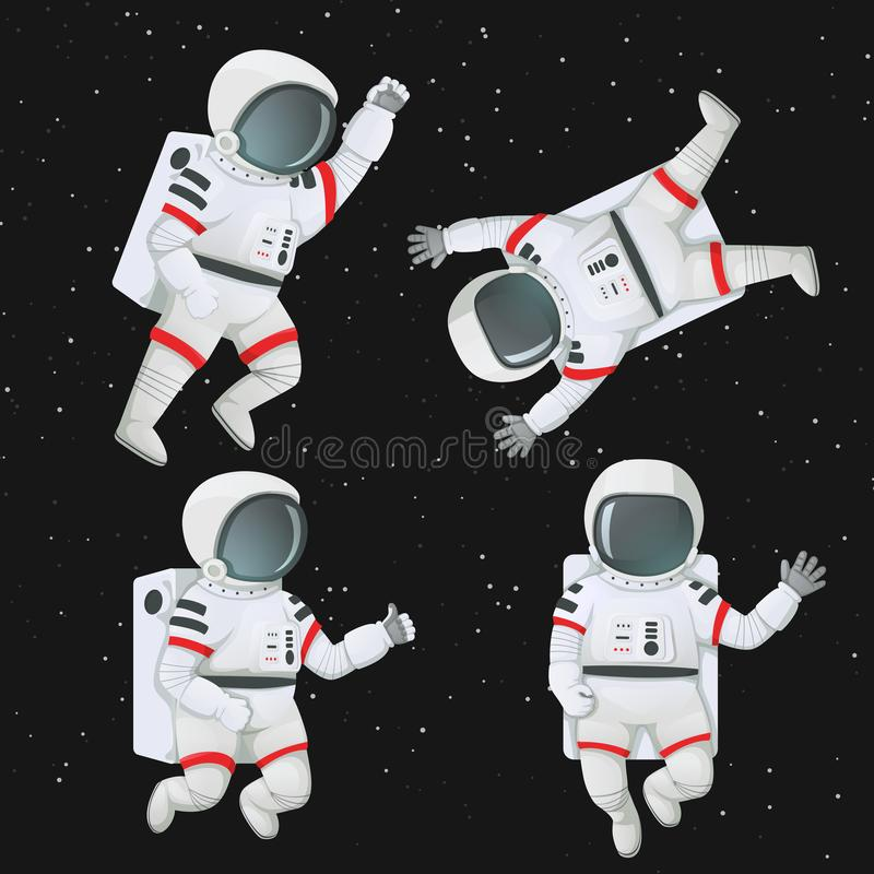 Satz Astronauten, die in Raum fliegen vektor abbildung