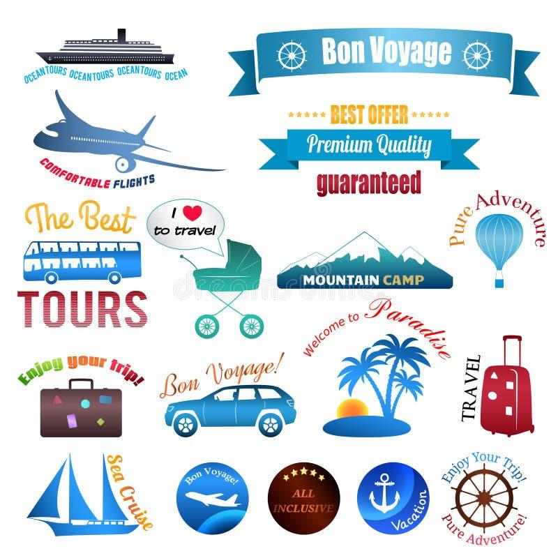 Satz Aufkleber, Abzeichen und Aufkleber auf Reise lizenzfreie abbildung