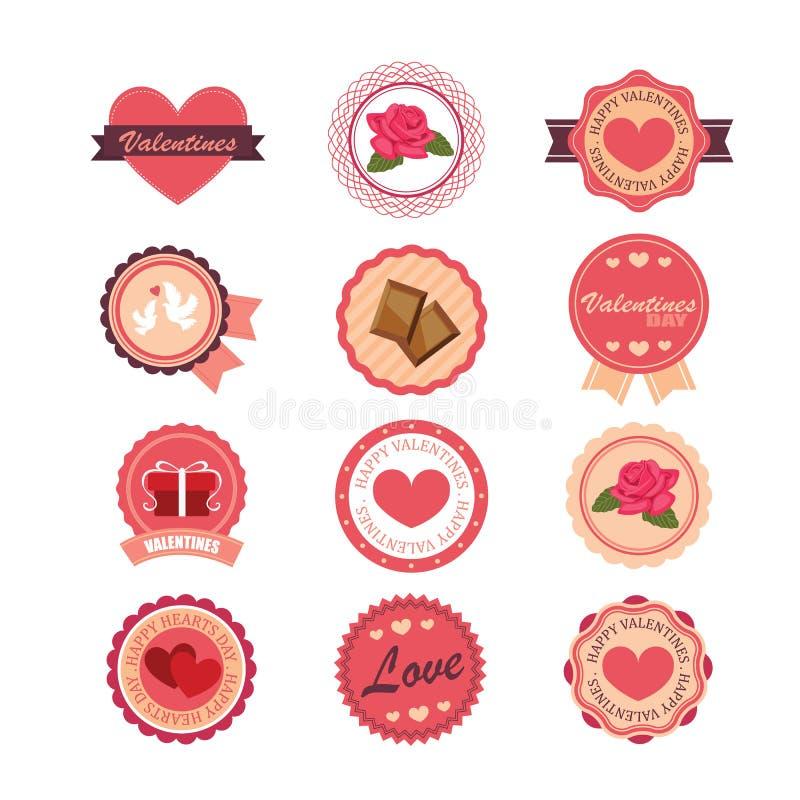 Satz Aufkleber und Ausweise für Valentinstag stock abbildung