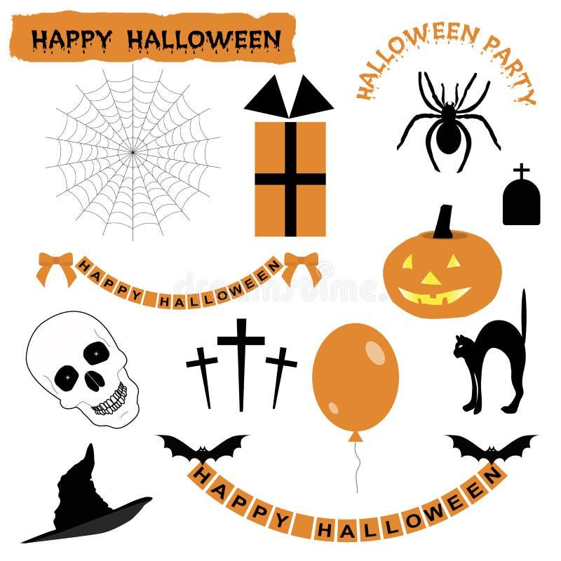 Satz Aufkleber und Ikonen für Halloween vektor abbildung