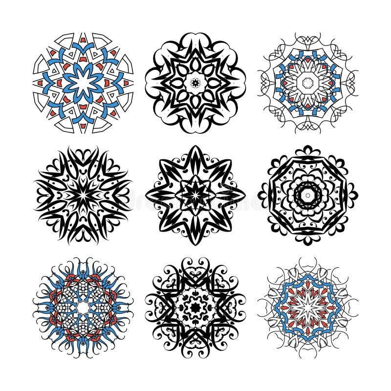 Satz aufwändige Mandalen des Vektors für Malbuch Sammlung dekorative runde Verzierungen lizenzfreie abbildung