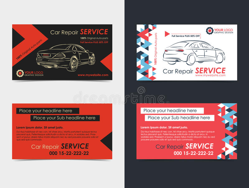 Satz Automobildienstleistungsunternehmenkartenplanschablonen vektor abbildung