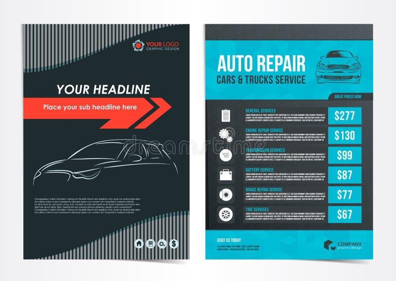 Satz Autoreparatur-Autos u. LKWs halten Planschablonen, Broschüre, Modellflieger instand lizenzfreie abbildung