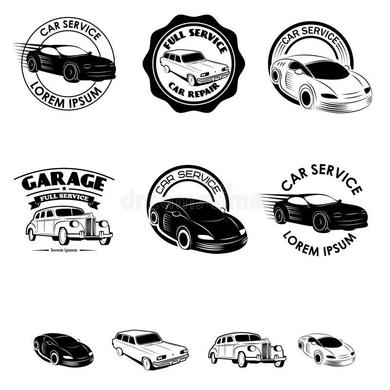Satz Autoservice-Aufkleber Satz Weinleseautoikonen Design ele lizenzfreie abbildung