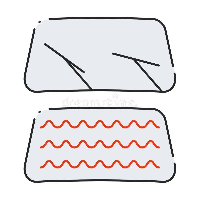 Satz Autowindschutzscheibenikonen vektor abbildung