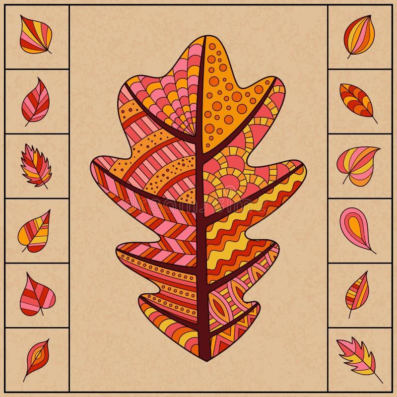 Satz Autumn Patterned Oak Leaf und kleine einfache Blätter vektor abbildung